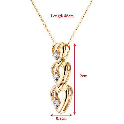 Naava - Collier Femme avec pendentif - Coeur - Or jaune (9 carats) 1.6 Gr - Diamant 0.02 Cts
