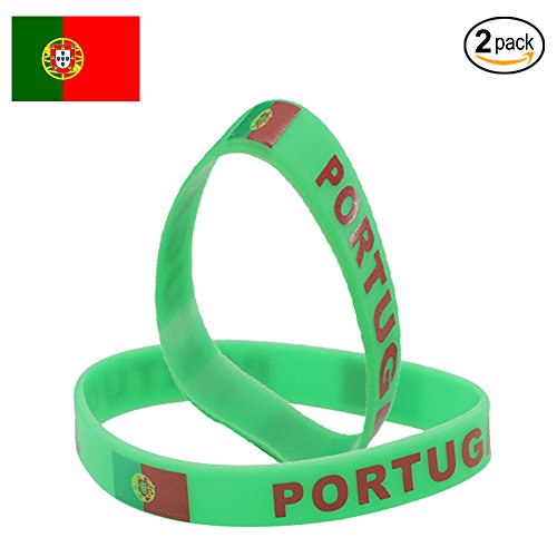 IDL World Cup Silicone Wristband, 2018 Russian World Cup Sports, Flag Bracelet   2-Piece Set   32 Countries Available   Unisex Design, Soft and Durable Wristbands, Non-Toxic (PORTUGAL)