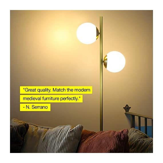 Brightech Sphere - Mid Century Modern 2 Globe Floor Lamp for Living Room Bright Lighting - Contemporary LED Standing Light for Bedrooms & Offices - Gold/Antique Brass Indoor Pole Light - UNIQUE AND MODERN DESIGN- The Sphero LED by Brightech was designed to stand out! The simple stem line and unembellished globes create a minimalistic look that goes well with Asian and modern décor schemes. The shiny gleam of the brass finish pairs beautifully with the frosted white diffusing glass shades to create a stunning look for your spaces. Its lightweight, slender design makes it convenient to move it from room to room, and fit into narrower spaces, to use wherever you need it. BEAUTIFUL WARM LIGHT FOR HOME & OFFICE; ECHO/ALEXA COMPATIBLE: This lamp gives off warm beautiful light that will create a cozy, comfortable, and well-lit space for any room in your home. An alternative to unpleasant overhead lights, the Sphero provides soft yet plentiful room lighting to enlighten your indoor space. For added convenience, the lamp is wall switch and smart outlet compatible, and will also work with Alexa, Echo, when paired with a smart plug. (Note: lamp is not dimmable). LONG LASTING & ENERGY SAVING: This UL Certified Lamp includes two 9.5 Watt power saving LED light bulbs that will not need to be replaced for years to come. The advanced 3,000K warm white LED technology with 800 lumens per bulb allows this lamp to outshine lamps that depend on short lived, energy consuming standard halogen or incandescent bulbs. This LED lighting will endure for more than 20 years without burning out or overheating. (Bulbs can be replaced with other bulbs, 60 watts max.) - living-room-decor, living-room, floor-lamps - 41Cj4LVEQML. SS570  -