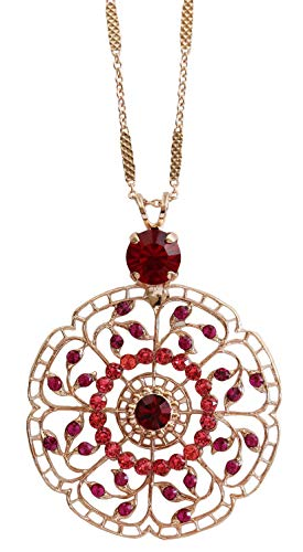 Mariana Rose Goldtone Filigree Flower Floral Statement Crystal Pendant Necklace, Firefly Strawberry Red Fuchsia 5210 2140rg