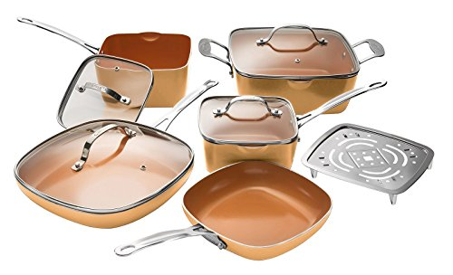 Gotham Steel 1994 Nonstick 10 Piece Square Cookware Set, Large, Copper