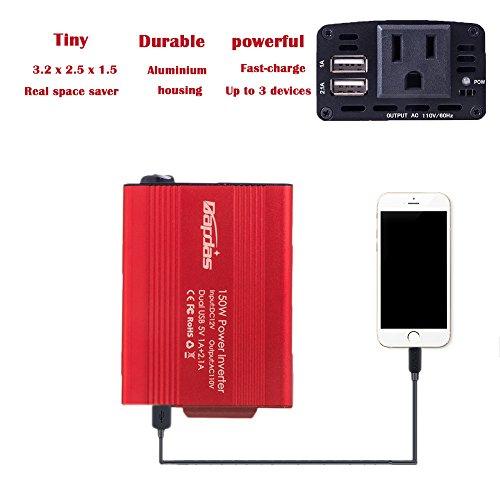 Bapdas 150W Car Power Inverter DC 12V to 110V AC Car Converter with 3.1A Dual USB Car Adapter-Red by Bapdas (Image #4)