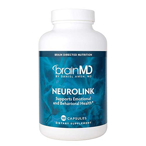 Dr Amen Brain MD NeuroLink - 180 Capsules - Natural Stress Relief & Mood Support Supplement, Promotes Optimal Brain Function, Focus & Concentration - Gluten Free - 45 Servings