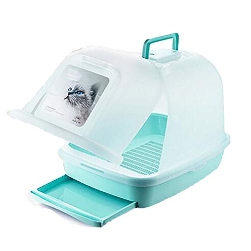 FXQIN Waterproof Double-Decker Cat Litter Box Furniture, Enclosed Cat Litter Pan with Cat Litter Scoop,Portable Drawer Big Space Cat ()