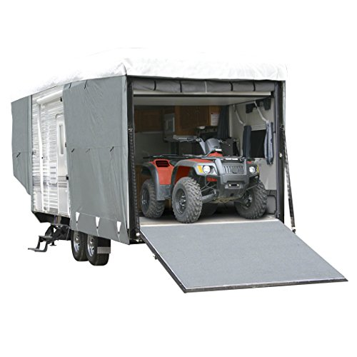 Classic Accessories OverDrive PolyPRO 3 Deluxe Toy Hauler Cover, Fits 32' - 36' Trailers - Max Weather Protection with 3-Ply Poly Fabric Roof RV Cover - Enclosed Car Hauler Trailer