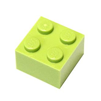 LEGO Parts and Pieces: 2x2 Lime (Bright Yellowish Green) Brick x50
