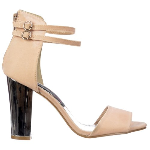 Onlineshoe Ladies Womens Peep Toe Mid Heels - High Back Strappy Sandals Silver Block Heel - Cream Beige Suede UK 7 - EU40 qvXUB6OTqg