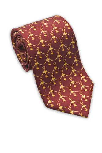 Josh Bach Men's Wine Corkscrew Silk Necktie Red, Made in USA