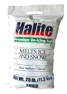 Halite RS25 Premium Ice Melting Rock Salt, 25 Lbs Bag