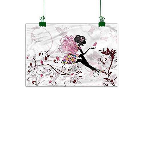 """duommhome Wall Art Stickers Hand Painted Princess Hand Painted Flower Fairy Butterflies 24"""" x 36"""""""