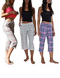 Sexy Basics Women's 3 Pack Brushed Cotton Woven Lounge & Sleep Capri Cropped PJ Pants
