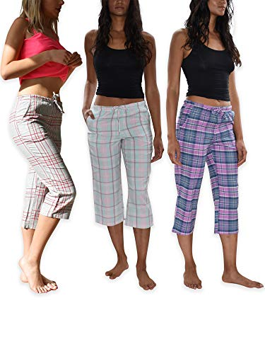 - Sexy Basics Women's 3 Pack Brushed Cotton Woven Lounge & Sleep Capri Cropped PJ Pants (3 Pack- Assorted Soft Classics, Large)
