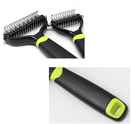 DAN Pet Dematting Comb Grooming Undercoat Rake, TPE + PP,2 Sided Undercoat Rake For Cats & Dogs by DAN (Image #4)