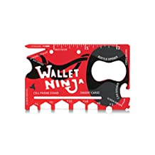 LIMITED EDITION (Soft Touch Finishing in Matte Red) Wallet Ninja 18 in 1 Multi-Purpose Credit Card Size Pocket Multi-Tool
