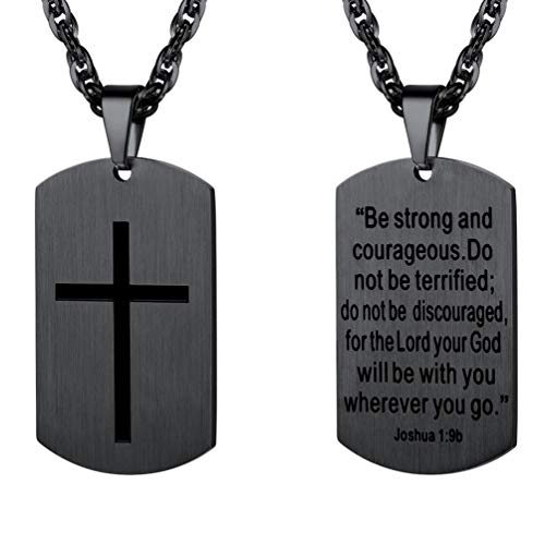 PROSTEEL Cross Jewelry,Mens or Womens Necklaces Pendants,Military Dog Tag,Dogtag,Be Strong and Courageous,Inspirational Necklace,Stainless Steel -