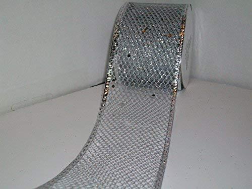 Silver Metallic Mesh Ribbon Wired Edge - 2-1/2