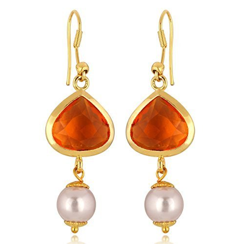 Gold Stylish Bezel (Spargz Stylish Funky Gold Tone Orange Crystal Collection Drop Dangle Earrings For Women)