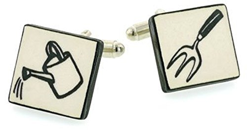 Ceramic Gardening Tools Cufflinks. Made in England