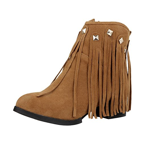Mee Shoes Womens Sexy High-heel Rivets Tassels Ankle-high Boots Yellow