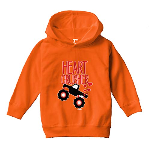 Heart Crusher - Monster Truck Crush Toddler/Youth Fleece Hoodie (Orange, 4T (Toddler))