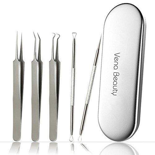 Blackhead Remover Tool kit,Professional Stainless Steel Pimple Comedone Extractor Curved Tweezers Kit with Metal Case,Treatment for Whitehead Acne by Vena Beauty