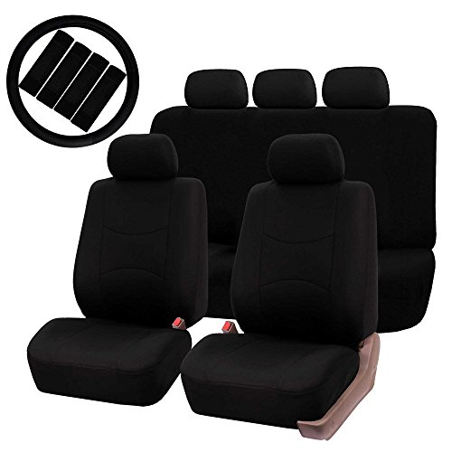 (FH GROUP FH-FB051115 Multifunctional Flat Cloth Seat Covers (Airbag compatible & Split ) W. FH2033 Steering Wheel Cover and Seat Belt Pads, Solid Black Color - Fit Most Car, Truck, Suv, or Van)