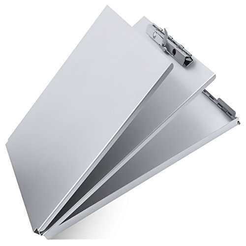 (Aluminum Clipboard Metal with Storage Form Holder Aluminum Metal Binder with High Capacity Clip Posse Box Heavy Duty Made - Letter Size Clipboard for Office Business Professionals Stationery Items)