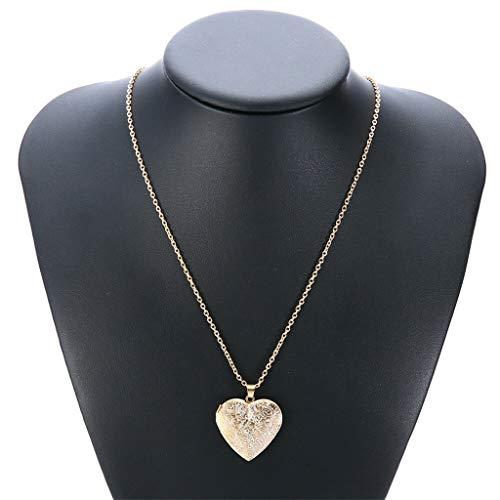 Peigen Retro Heart-Shaped Necklace Locket Mini Photo Frame Box Pendants for Women - Heart Necklace Locket Frame