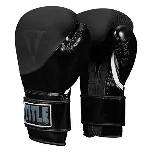 Title Boxing Cyclone Leather Training Gloves, Black, 12 oz