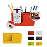Cyanics Multifunction Home Office Desk Office Cubicle Accessory Supplies Organizer Holder for Stationery Items, Smartphone Stand Function (Yellow)