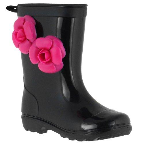 Capelli New York Jelly Flower Trim and Back Pull Loop Girls Basic Body Jelly Rain Boot Black 10/11 ()