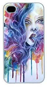 AWU DIYAbstract With Breath Life Gives A New Creation Customized Hard Shell White iphone 4/4s Case On Custom Service