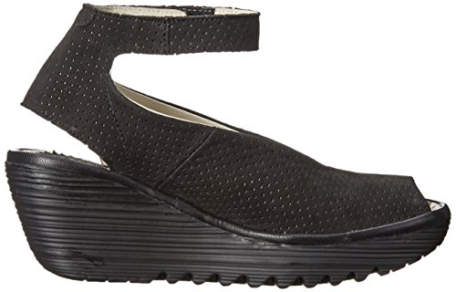Yala Black London Perforated Women's Fly Wedge Sandal black daYEHxw