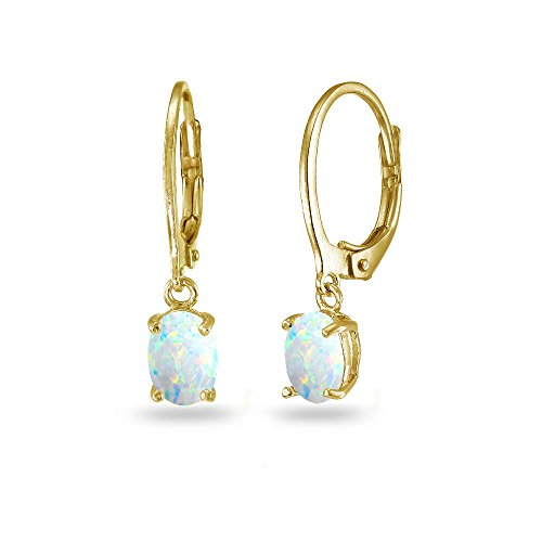 LOVVE Yellow Gold Flashed Sterling Silver Created White Opal 7x5mm Oval Dangle Leverback Earrings - Gold Oval Opal Earrings