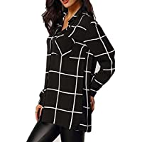 Litetao Womens Ladies T-shirt Plaid Long Sleeve Chiffon Tops V-neck Button Blouse