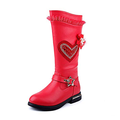 Girls Winter Warm Knee High Boot Toddler Princess Shoe Baby Girl Fashion Snow Boot (Red,EU 28/11 M US Little Kid)