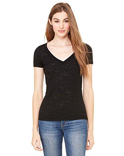 Ladies' Burnout V-neck Tee Shirt, Color: Black, Size: X-Large