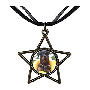 Chicforest Bronze Retro Style Dog Swimming With Floaty Five Pointed Star Pendant