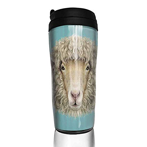 (coffee cups for mom and dad Humor,Portrait of Ram Sheep Goat Head Meadow Mammal Hipster Retro Style Graphic Art,Turquoise Tan 12 oz,best coffe cup for hot coffee)
