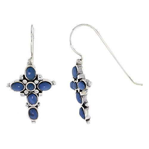 Oval Round Cross - Sterling Silver Oxidized Cross Earrings, w/ 2mm Round & Five 4 x 3 mm Oval-shaped Blue Resin, 7/8