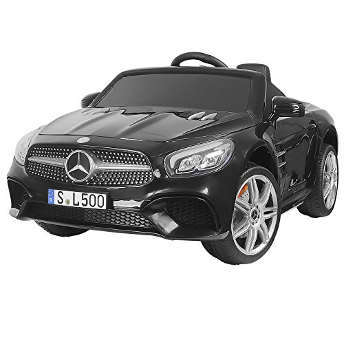 Uenjoy 12V Licensed Mercedes-Benz SL500 Kids Ride On Car Electric Cars for Kids w/Remote Control & Music & Spring Suspension & Safety Lock Black
