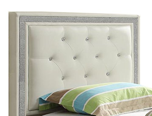 William's Home Furnishing 89853 Breen Headboard, Twin, White (White Tufted Twin Bed)