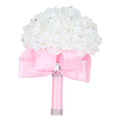 Wedding Bouquet, Febou Big Size Pink Bridesmaid Bouquet Bridal Bouquet with Crystals Soft Ribbons, Artificial Rose Flowers for Wedding, Party and Church (Pink Big Size)