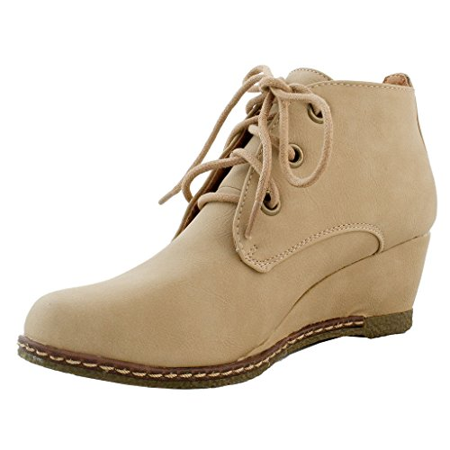 New Women Casual Lace Up Wedge Heel Ankle Boots Booties Hidden Platform Shoes 6.5 US