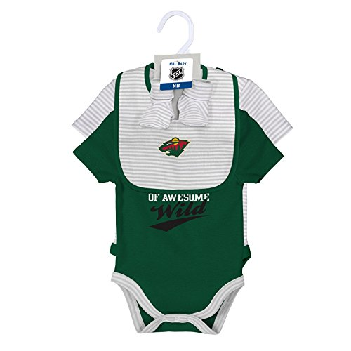 NHL Minnesota Wild Layette Newborn Team Awesome 2Piece Onesie, Bib & Bootie Set, 0-3 Months, Cool Grey (Hockey Sports Bib)