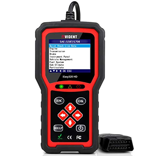 VIDENT iEasy320HD Heavy Duty Truck OBD2 Scanner with Check Engine, Transmission, Brake, Fuel Scan Tool for Heavy Duty Trucks & Cars 2 in 1 OBDII Code Reader