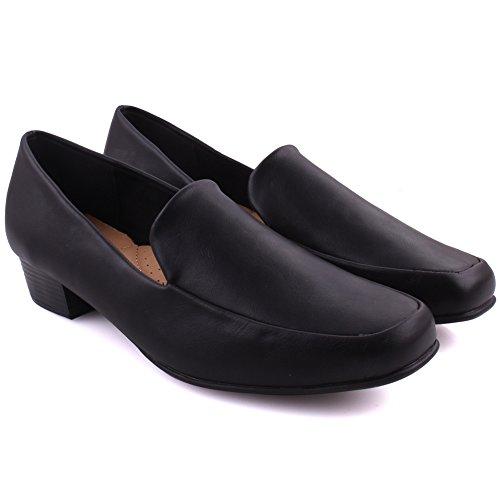 Unze Frauen Cloris Beiläufige Tägliche Slip On Loafer UK Größe 3-8 Verschleiß - DYA006-2 Schwarz