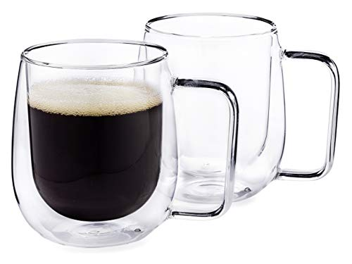 fee Mugs, 13.5-Ounce Double Wall Insulated Glasses, Gift Boxed - Set of 2 ()