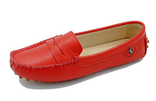 LL STUDIO Womens Casual Slip On Flats Red Seude/Leather Driving Walking Moccasins Loafers Boat Shoes 6.5 M US -  LL STUDIO-YIBU9603-Red Leather37