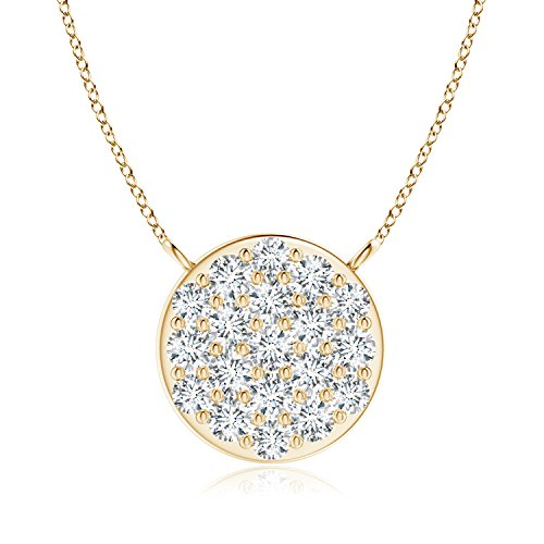 Composite Round Diamond Disc Pendant Necklace in 14K Yellow Gold (1.6mm Diamond) -